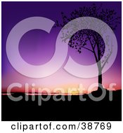 Clipart Illustration Of A Purple And Orange Sunset Silhouetted A Tree In Black