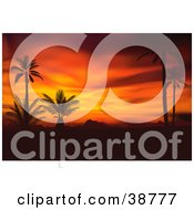 Clipart Illustration Of A Scene Of Black Silhouetted Palm Trees Against A Fiery Orange And Red Tropical Sunset