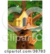 Clipart Illustration Of Wood Steps Leading Up To A Treehouse In A Lush Green Tree by dero #COLLC38783-0053
