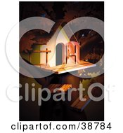 Clipart Illustration Of Light Shining On A Treehouse by dero
