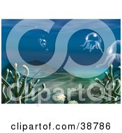 Clipart Illustration Of An Underwater Scene Of Aquatic Plants Shells Hills Bubbles And Jellyfish