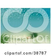 Clipart Illustration Of An Underwater Scene Of Rays Of Light Shining Down On Aquatic Plants by dero