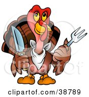 Clipart Illustration Of A Brown Thanksgiving Turkey Bird Wearing A Bib And Holding A Fork And Knife by dero