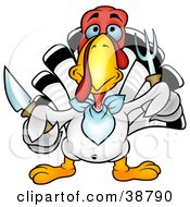 Clipart Illustration Of A White Thanksgiving Turkey Bird Wearing A Bib And Holding A Fork And Knife by dero