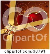 Clipart Illustration Of A Gold Bow And Ribbons Over Hearts Vines And Butterflies On An Orange Background
