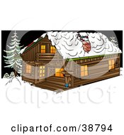 Big Log Cabin In The Snow At Night