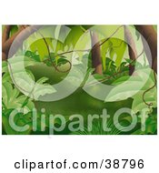 Clipart Illustration Of A Lush Green Forest With Leafy Plants Tree Trunks And Vines by dero #COLLC38796-0053