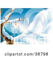 Clipart Illustration Of A Bare Tree Flocked In Snow Beside A Snow Covered Hill At The Edge Of The Woods by dero