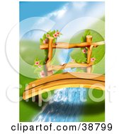 Clipart Illustration Of Flowering Vines Growing On The Rails Of An Arched Wood Footbridge Over A Creek Between Green Hills by dero