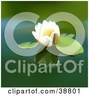 Clipart Illustration Of A White Lotus Floating On A Green Pond