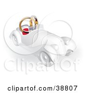Clipart Illustration Of A White 3d Vintage Car With Two Wedding Bands In The Seats