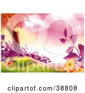 Clipart Illustration Of A Tree With Purple Orange And Pink Flowers And Plants In A Grassy Meadow by dero