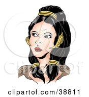 Clipart Illustration Of A Beautiful Black Haired Roman Woman Looking Off To The Left by dero