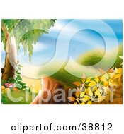 Clipart Illustration Of Spring Flowers And A Tree Near A Grassy Hill by dero