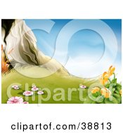 Clipart Illustration Of Pink And Orange Flowering Plants In Grass Near A Rock by dero