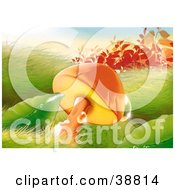 Clipart Illustration Of Sunlight Glistening Off Of Dewdrops On Mushrooms Grass And Plants