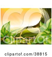 Clipart Illustration Of Green Plants Growing Against The Roots Of A Tree
