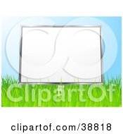 Clipart Illustration Of A Blank White Billboard In A Grassy Field Against A Blue Sky