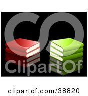 Clipart Illustration Of Red And Green School Books Stacked On A Reflective Black Background by elaineitalia
