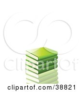 Clipart Illustration Of A Stack Of Green Library Books Resting On A Reflective Surface by elaineitalia