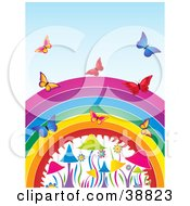 Butterflies Flying Over A Colorful Rainbow Flowers And Mushrooms