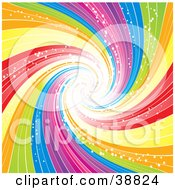Clipart Illustration Of A Swirling Rainbow Vortex Sparking And Spiraling Into The Distance by elaineitalia