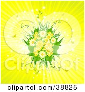 Clipart Illustration Of A Beautiful Spring Bouquet Of Yellow Flowers And Ferns On A Bursting Background With Sparkles And Butterflies