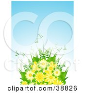 Yellow Flower Bouquet With Ferns Against A Blue Background
