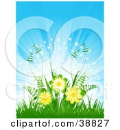 Clipart Illustration Of Yellow Flowers And Ferns Growing Over A Bursting And Sparkling Blue Background by elaineitalia