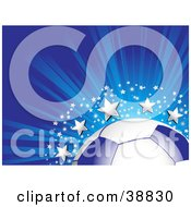 Clipart Illustration Of A Blue And White Soccer Ball On A Bursting Blue Background With Silver Stars And Sparkles