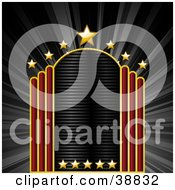 Clipart Illustration Of A Blank Movie Theater Sign With Red Bars And Golden Stars On A Bursting Black Background