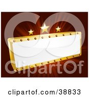 Clipart Illustration Of A Blank White And Gold Movie Theater Sign With Three Stars On A Bursting Red Background