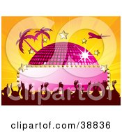 Clipart Illustration Of A Plane Flying Over A Pink Disco Ball With A Blank Sign Stars Palm Trees And A Crowd On A Bursting Orange Background by elaineitalia