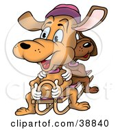 Clipart Illustration Of Two Happy Dogs Sitting On A Sled