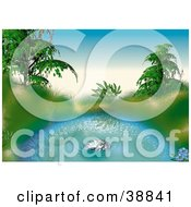 Clipart Illustration Of Grasses And Green Plants Reflecting In A Sparkling Blue Pond by dero