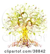 Clipart Illustration Of An Elegant Yellow Green Orange And Red Vine Tree by OnFocusMedia
