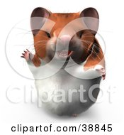 Clipart Illustration Of Hammy The Productive Hamster Waving And Smiling