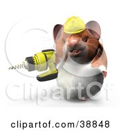 Clipart Illustration Of A Construction Worker Hamster Using A Power Drill