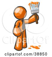 Clipart Picture Illustration Of An Orange Man Painter Holding A Dripping Paint Brush by Leo Blanchette