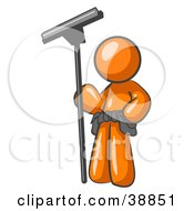 Clipart Picture Illustration Of An Orange Man Window Cleaner Standing With A Squeegee by Leo Blanchette