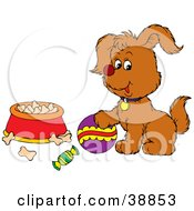 Clipart Illustration Of A Playful Puppy With A Ball Near A Bowl Of Dog Food