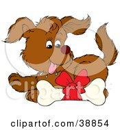 Clipart Illustration Of A Happy Puppy Drooling Over A Doggy Bone
