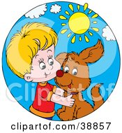 Clipart Illustration Of A Happy Boy Hugging His Puppy On A Sunny Day by Alex Bannykh