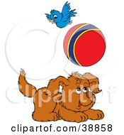 Clipart Illustration Of A Happy Puppy And Bird Playing With A Ball