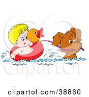 Clipart Illustration Of A Dog Pulling A Boy In A Duck Inner Tube While Swimming by Alex Bannykh