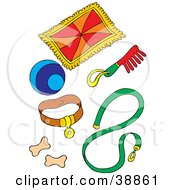 Clipart Illustration Of Dog Supplies Blanket Ball Collar Comb Leash And Biscuits