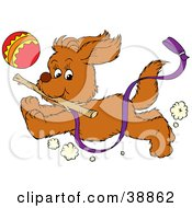 Clipart Illustration Of A Happy Puppy Running With A Purple Leash Attached Chasing A Ball And Fetching A Stick