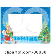 Clipart Illustration Of A Border Of Father Christmas Carrying Presents To A Christmas Tree by Alex Bannykh