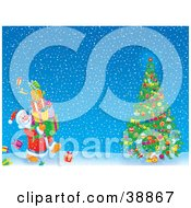 Clipart Illustration Of Father Christmas Carrying Gifts To A Christmas Tree On A Snowy Night