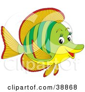 Clipart Illustration Of A Friendly Green Orange Red And Yellow Fish With Long Eyelashes